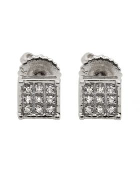 10K White Gold Square Fashion Diamond Stud Earrings 0.08ct