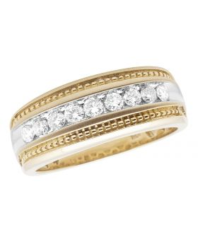 Men's 10k Yellow Gold Milgrain Real Diamond Channel Wedding Ring Band 0.50 ct