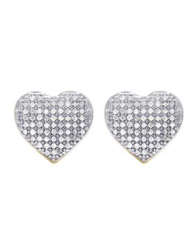 Ladies 10K Yellow Gold Genuine Diamond Puff Heart Stud Earring 1/3 Ct 9MM