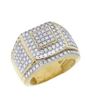10K Yellow Gold Puffed Real Diamond Statement Ring 2CT