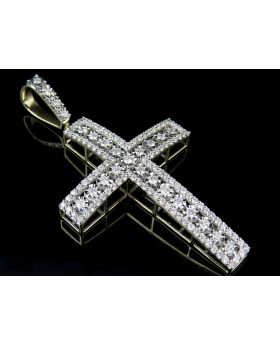 10K Yellow Gold Real Diamond Border Cross Pendant 2.85ct 2.7""