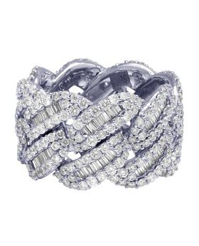 10K White Gold Real Diamond Baguette Cuban Ring Band 16MM 6.95 CT