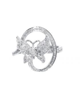 Sterling Silver Butterfly Ring with Diamonds (0.33 ct)