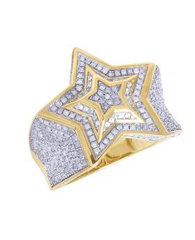 Mens 10K Yellow Gold Diamond Super Star Iced Pinky Ring 1.5CT