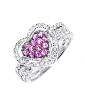 Heart Bridal with Pink Sapphires and Diamonds (0.25 ct)