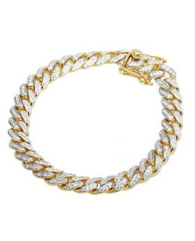 Men's 10K Yellow Gold Miami Cuban Diamond 9MM Bracelet 3.5 CT 8""