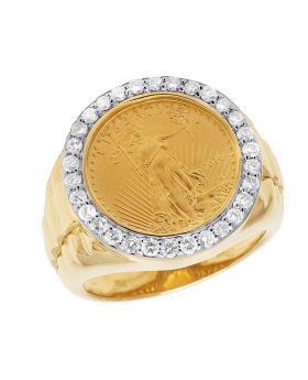 24K Yellow Gold Coin Lady LIberty 1/10 Ounce Diamond Ring 0.75 Ct  20MM