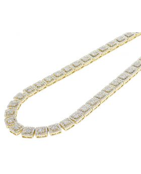 Two-Tone Gold 10MM Halo Square Baguette Diamond Necklace 19CT 19""