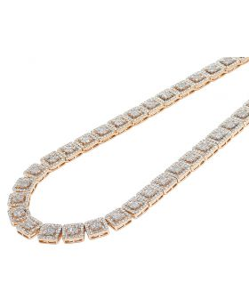 Two-Tone Gold 10MM Halo Square Baguette Diamond Necklace 19 CT 19""