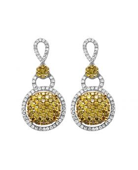 14K White Gold Real Diamond Canary Tear Drop Dangle Hoop Earrings 2.0ct
