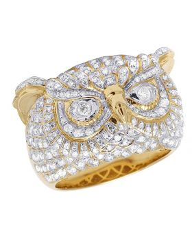 Men's 10K Yellow Gold Diamond Owl Pinky Ring 1.50 Ct 17MM
