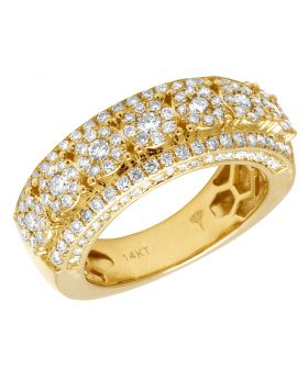 Men's 14K Yellow Gold Real Diamond Cluster 3D Wedding Band Ring 2 CT 9MM