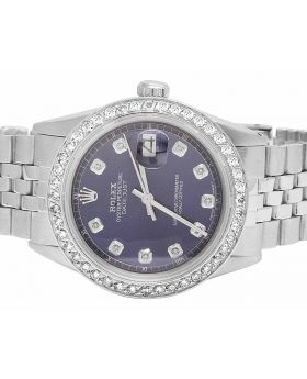 Mens Rolex Datejust 36MM Oyster Perpetual Blue Dial Diamond Watch 2.5 Ct