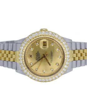 Rolex Datejust 36MM 18K/ Steel Champagne Dial Diamond Watch 3.0 Ct