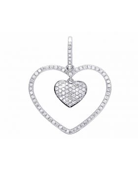 Ladies 10K White Gold Genuine Diamond Dangling Double Heart Pendant 1/4 Ct 25MM
