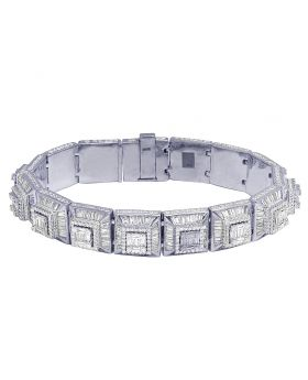 White Gold Pyramid Baguette Diamond 2 Tier Bracelet 19MM 19.55CT