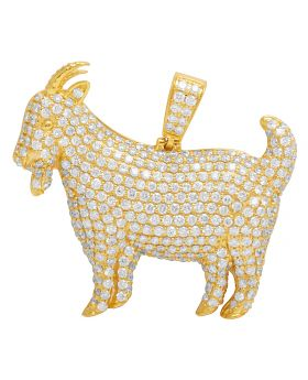 14K Yellow Gold Real Diamond Goat Capricorn Pendant 3.5 CT 1.2""