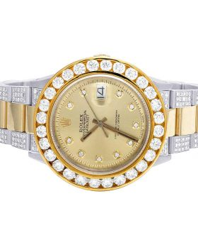 Rolex Datejust 18K/ Steel Two Tone Oyster 36MM Diamond Watch 11.75 Ct