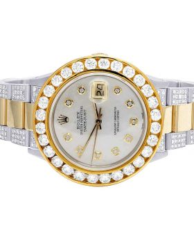 Rolex Datejust 36MM 18K/ Steel Two Tone MOP Diamond Watch 11.75 Ct
