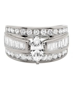 14K White Gold Marquise Baguette Genuine Diamond Engagement Cluster Ring 2 ct