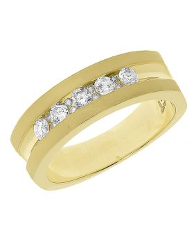 Mens Satin Finish 7mm Channel Set Band in Yellow Gold (0.50 ct)