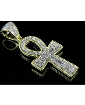 10k Yellow Gold Egyptian Ankh Rope Style Border Diamond Charm Pendant .50Ct 1.4""
