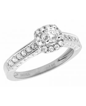 14K White Gold Halo Solitaire 3D Real Diamond Engagement Ring 1.0ct