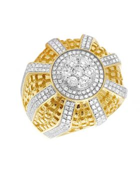 10K Yellow Gold 3D Cluster Nugget Men's Ring 1 1/5 CT 24MM