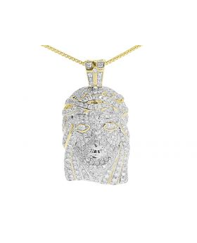 "Fully Iced Out Diamond Mini Jesus Pendant 1"" in 14K Yellow Gold (1.65 ct)"