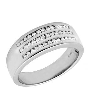 Men's 10K White Gold Real Diamond Engagement Band 0.40ct