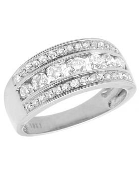 Ladies 10K White Gold Real Diamond Channel Engagement Ring Band 1.0ct