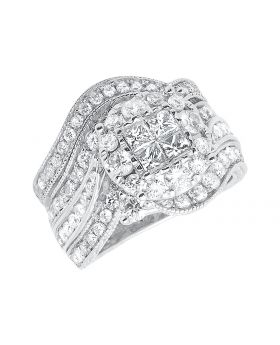 14k White Gold Princess Diamond Contoured Bridal Engagement Ring Set (2.5 ct)