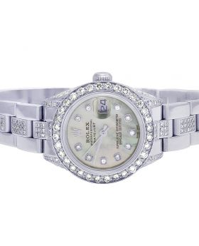 Ladies Rolex Datejust 26MM MOP Dial Diamond Watch 8.0 Ct