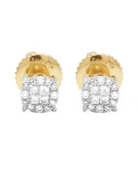 14K Yellow Gold Diamond Princess Quad Round Stud Earring 0.25 Ct 4.5MM