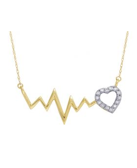 Ladies 10K Yellow Gold Real Diamond Heartbeat Necklace 1/20 CT