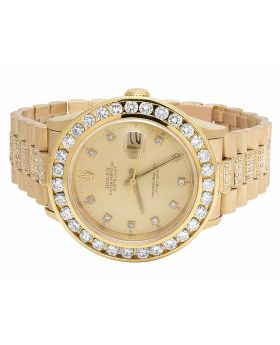 Mens Rolex Date Just 36 MM 18k Solid Gold 16238 Diamond Watch