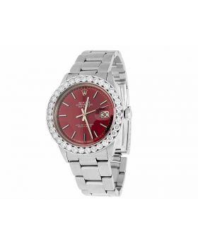 Mens Rolex Date Just 36 MM Oyster Perpetual Red Dial Diamond Watch 5.5 Ct