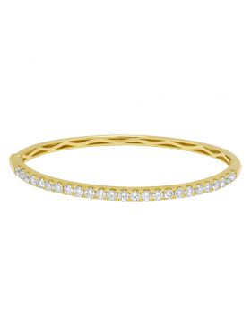 14K Yellow Gold 10 Pointer 1 Row Solitaire Bangle Bracelet 2.22 CT
