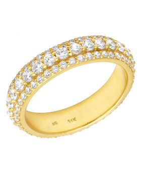 14K Yellow Gold Real Diamond 3 Row Band Eternity Ring 2.60 CT 5MM