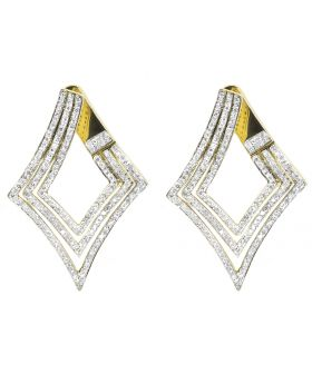 1.75ct Tear Drop Fashion Earrings in 10k Yellow Gold 1.6 Inch