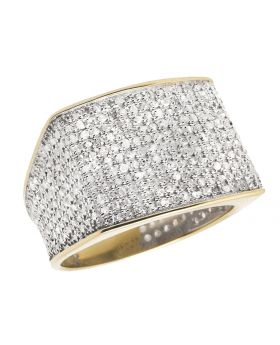 10K Yellow Gold Men's Pave Eternity Real Diamond Ring Band 1.4ct