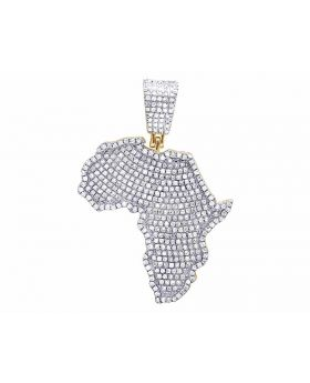 10K Yellow Gold Genuine Diamond Iced Out Africa Map Pendant Charm 9/10 Ct 37MM