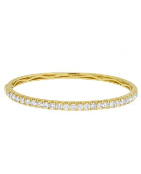 Yellow Gold 12 Pointer 1 Row Solitaire Bangle Bracelet 2.83 CT