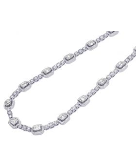 10K White Gold Diamond Baguette Halo Illusion Necklace 10.2CT 8.5MM 22""