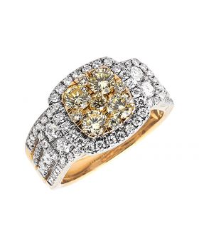 Ladies Yellow Gold Natural Yellow Diamonds Engagement Wedding Bridal Ring Set (2.01ct)