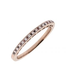 10K Rose Gold MIlgrain One Row Red And White Diamond Wedding Band Ring 1/12ct.