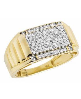 10K Yellow Gold Men's Square Real Diamond Presidential Ring 0.40ct
