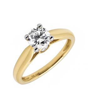 14K Yellow Gold Diamond Solitaire Engagement Ring 1.0ct