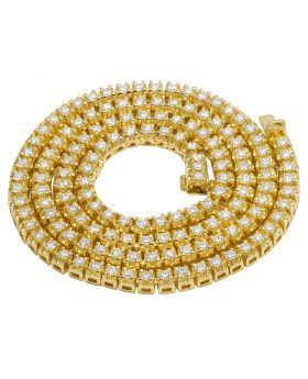 10K Yellow Gold Real Diamond 1 Row Tennis Chain Necklace 16.75 CT 6MM