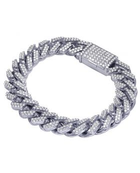 "Mens 10K White Gold Real Diamond Miami Cuban Iced Out Link Chain Bracelet 8.25"" 8CT"